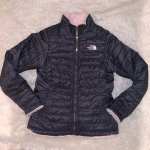 gray pink jacket l 14 16 Reversible North Face